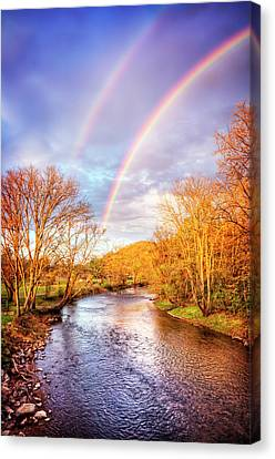 Canvas Print featuring the photograph Rainbow Over The River II by Debra and Dave Vanderlaan