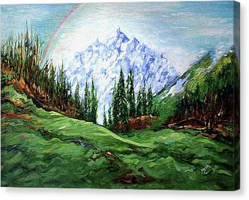 Rainbow Over The Snow Covered Mountain Canvas Print