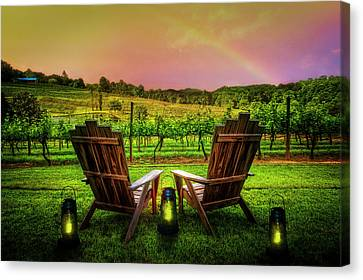 Rainbow Over The Vineyard Canvas Print