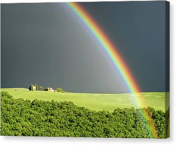 Rainbow Over Vitaleta Canvas Print