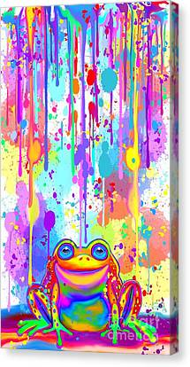 Canvas Print featuring the painting Rainbow Painted Frog  by Nick Gustafson