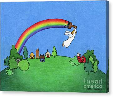 Primitive Canvas Print - Rainbow Painter by Sarah Batalka