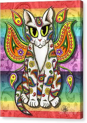 Rainbow Paisley Fairy Cat Canvas Print by Carrie Hawks