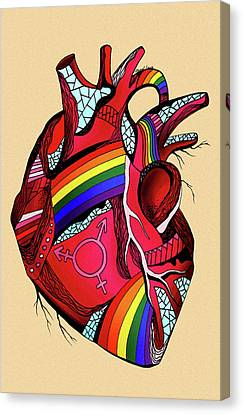 Rainbow Pride Heart Canvas Print by Kenal Louis