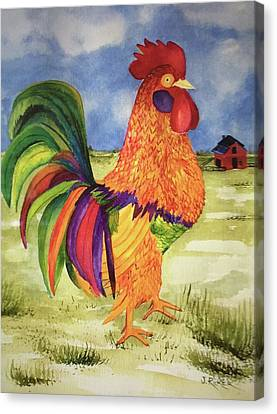 Rainbow Rooster Canvas Print