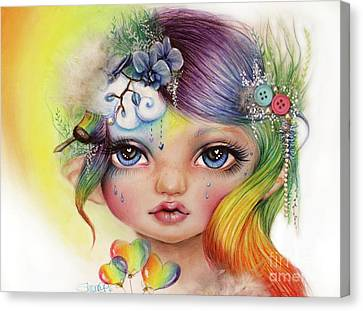 Canvas Print featuring the mixed media Rainbow Rosalie  by Sheena Pike