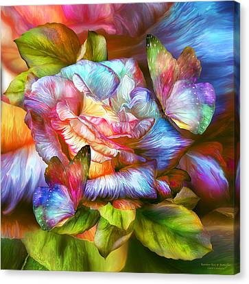 Insects Canvas Print - Rainbow Rose And Butterflies by Carol Cavalaris