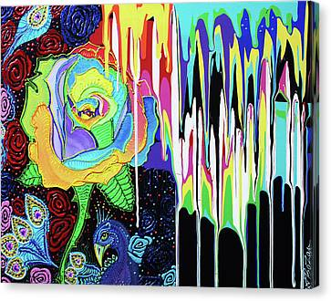 Rainbow Rose Canvas Print by Laura Barbosa