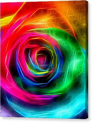 Rainbow Rose Rays Canvas Print by Marianna Mills