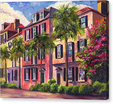 Rainbows Canvas Print - Rainbow Row Charleston Sc by Jeff Pittman