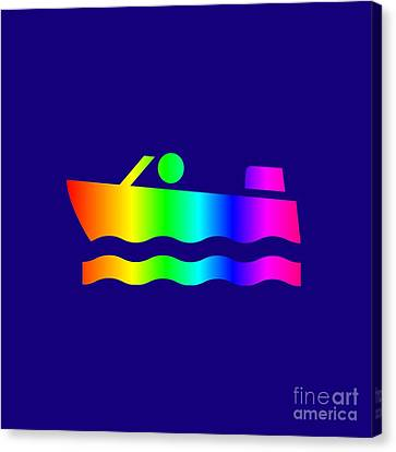 Rainbow Speedboat. Canvas Print by Frederick Holiday