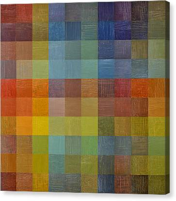 Block Quilts Canvas Print - Rainbow Rustic by Michelle Calkins