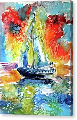 Rainbow Sailboat At Sunset Canvas Print by Kovacs Anna Brigitta