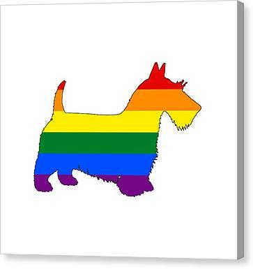 Scottish Dog Canvas Print - Rainbow Scottish Terrier by Steph J Marten