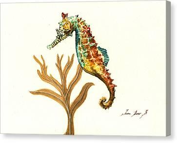 Seahorse Canvas Print - Rainbow Seahorse by Juan Bosco