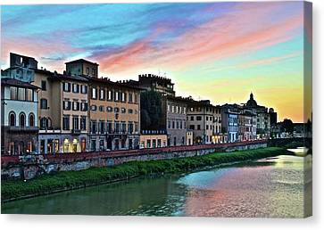 Rainbow Sky Over Florence Italy Canvas Print