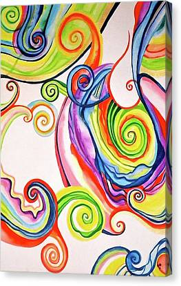 Rainbow Spirals Canvas Print by Erika Swartzkopf
