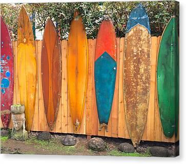 Surfboard Rainbow Canvas Print by Brenda Pressnall