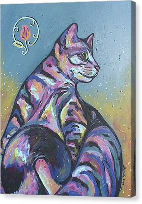 Rainbow Tabby Canvas Print by Sarah Crumpler