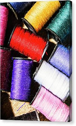 Fiber Canvas Print - Rainbow Threads Sewing Equipment by Jorgo Photography - Wall Art Gallery