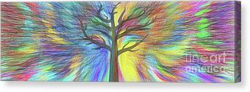 Canvas Print featuring the digital art Rainbow Tree By Kaye Menner by Kaye Menner
