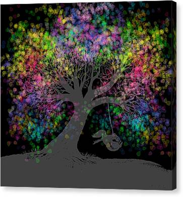 Rainbow Tree Dreams After Dark  Canvas Print