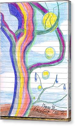 Canvas Print featuring the drawing Rainbow Tree Revisited by Rod Ismay