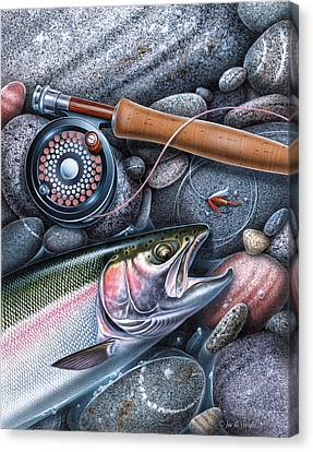 Rainbow Trout Canvas Print by JQ Licensing