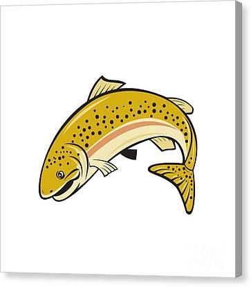 Rainbow Trout Jumping Cartoon Isolated Canvas Print by Aloysius Patrimonio
