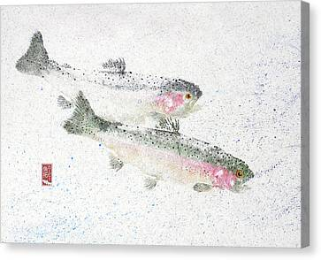 Rainbow Trout Pair #rt0005 Canvas Print by Kirby Wilson