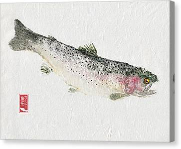 Rainbow Trout #rt0003 Canvas Print by Kirby Wilson