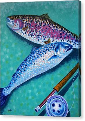 Rainbow Trout With Grilse Canvas Print by John  Nolan