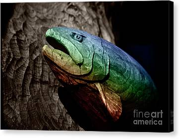 Canvas Print featuring the photograph Rainbow Trout Wood Sculpture by John Stephens