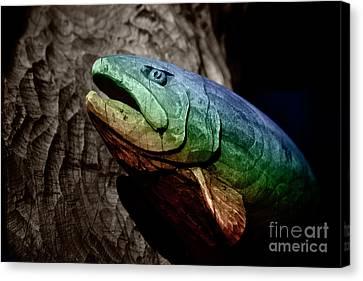 Rainbow Trout Wood Sculpture Canvas Print by John Stephens