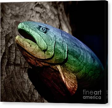 Canvas Print featuring the photograph Rainbow Trout Wood Sculpture Square by John Stephens