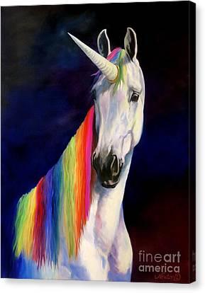 Unicorn Canvas Print - Rainbow Unicorn by Jeanne Newton Schoborg
