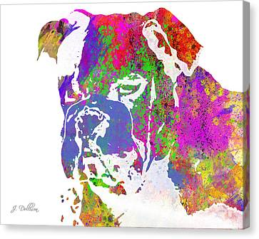Rainbow Watercolor Bulldog Canvas Print