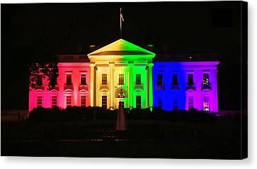 Rainbow White House Canvas Print