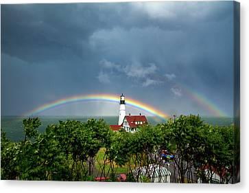 Rainbow X 2 At Portland Headlight Canvas Print