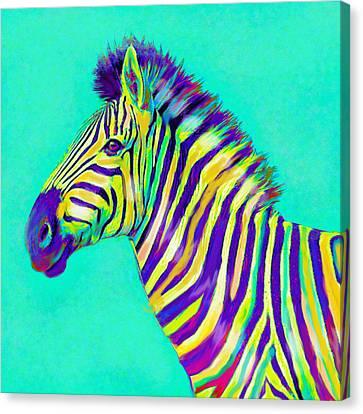 Zebra Art Canvas Print - Rainbow Zebra 2013 by Jane Schnetlage