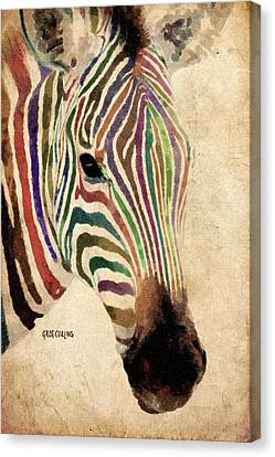 Canvas Print featuring the painting Rainbow Zebra by Greg Collins