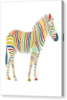Rainbow Zebra Canvas Print by Nicole Wilson