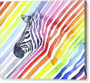Zebra Canvas Print - Rainbow Zebra Pattern by Olga Shvartsur