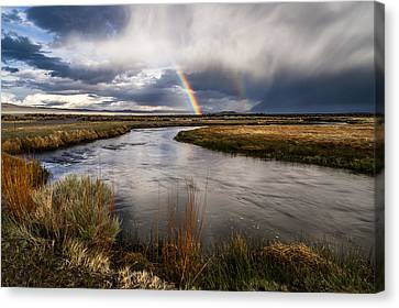 Rainbows At The Upper Owens Canvas Print by Cat Connor