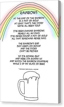 Canvas Print featuring the drawing Rainbows by John Haldane