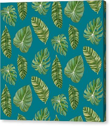Rainforest Resort - Tropical Leaves Elephant's Ear Philodendron Banana Leaf Canvas Print by Audrey Jeanne Roberts