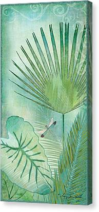 Rainforest Tropical - Elephant Ear And Fan Palm Leaves W Botanical Dragonfly Canvas Print by Audrey Jeanne Roberts