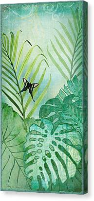 Rainforest Tropical - Philodendron Elephant Ear And Palm Leaves W Botanical Butterfly Canvas Print by Audrey Jeanne Roberts