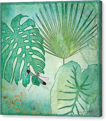 Philodendron Canvas Print - Rainforest Tropical - Philodendron Elephant Ear And Palm Leaves W Botanical Dragonfly 2 by Audrey Jeanne Roberts