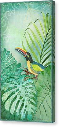 Philodendron Canvas Print - Rainforest Tropical - Tropical Toucan W Philodendron Elephant Ear And Palm Leaves by Audrey Jeanne Roberts